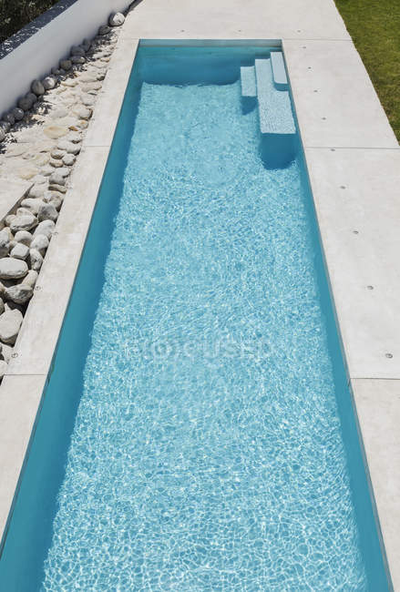 Elevated view of blue lap pool — Stock Photo