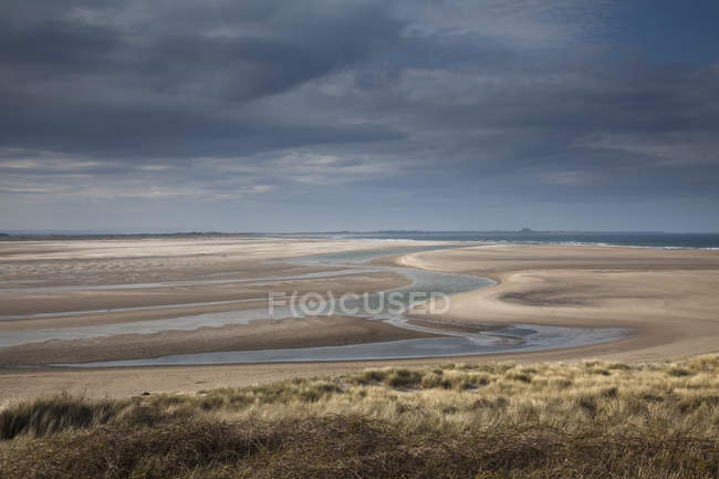 Beach at low tide under clouds during daytime — Stock Photo