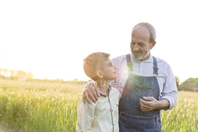 Agriculteur de grand-père et son petit-fils hugging en champ de blé rural — Photo de stock