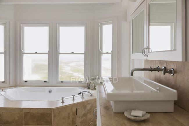 Раковина і джакузі ванна в майстер розкішною ванною кімнатою — стокове фото