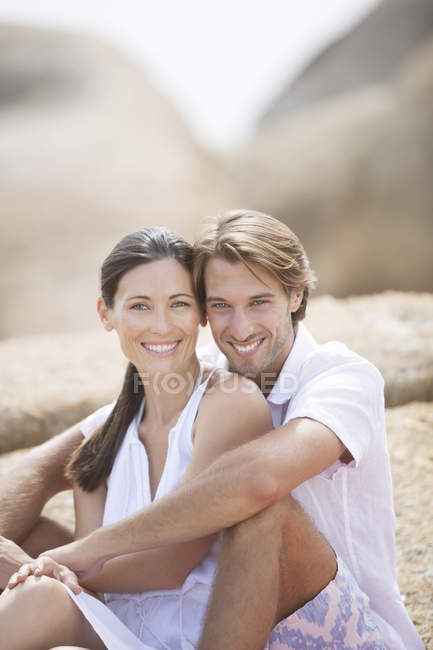 Couple smiling together outdoors — Stock Photo