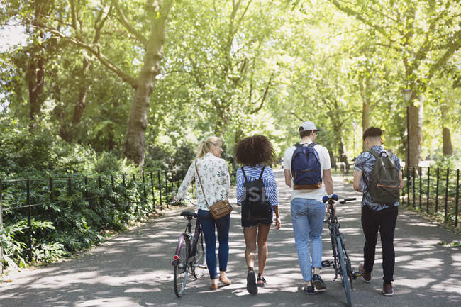 Friends walking with bicycles in park — Stock Photo