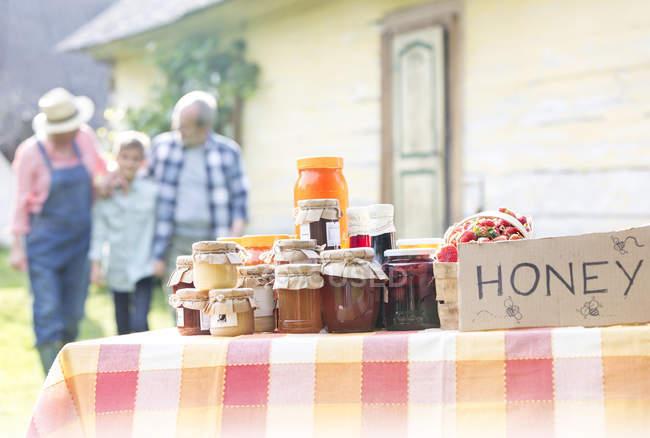 Grandparents and grandson walking toward honey stand — Stock Photo