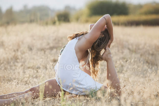 Бохо жінка в royal короля Голуб створюють у Сонячний сільських поля — стокове фото