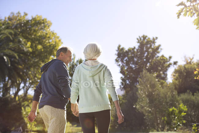 Coppia anziana che si tiene per mano e cammina nel parco — Foto stock