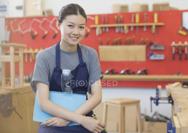 Portrait confident carpenter in workshop — Stock Photo