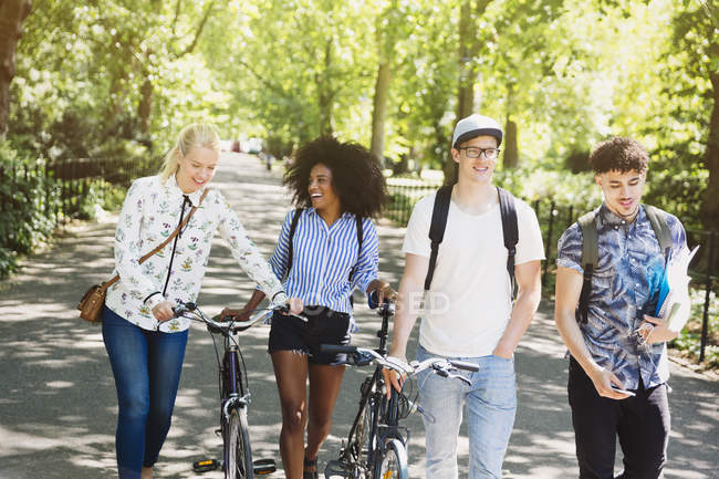 Amis marchant avec des vélos dans le parc — Photo de stock
