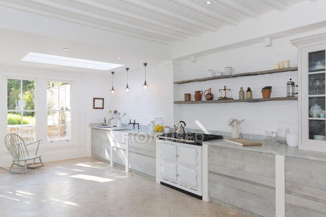 Luxury rustic kitchen indoors during daytime — Stock Photo