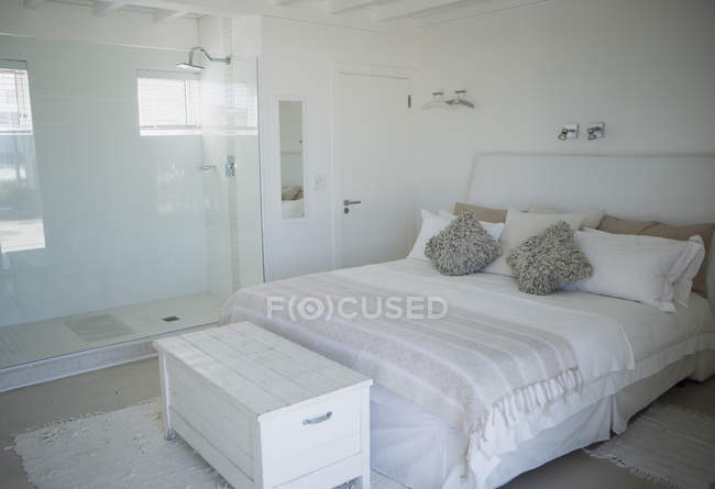 Bed, shower and trunk in modern bedroom — Stock Photo