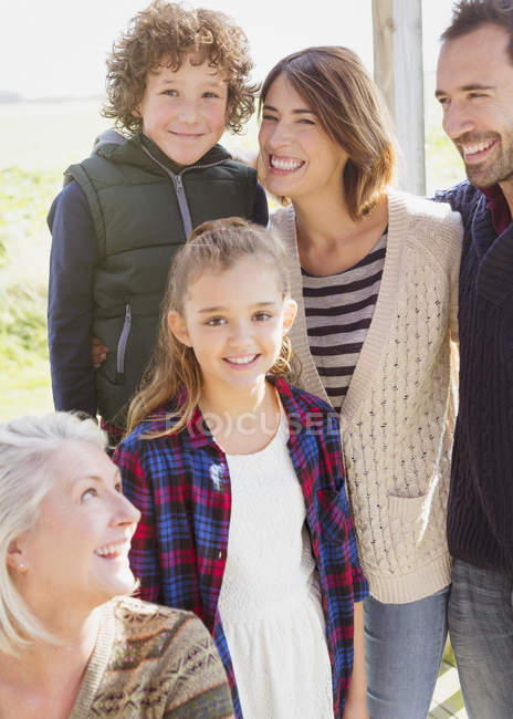 Portrait smiling multi-generation family on porch — Stock Photo
