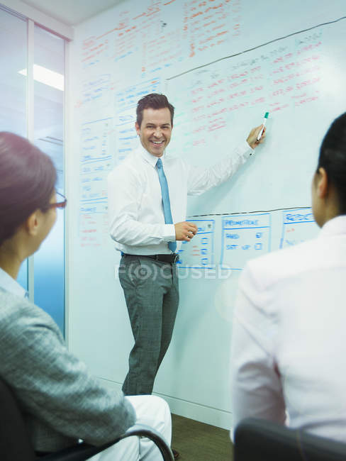 Businessman leading meeting at whiteboard in conference room — Stock Photo