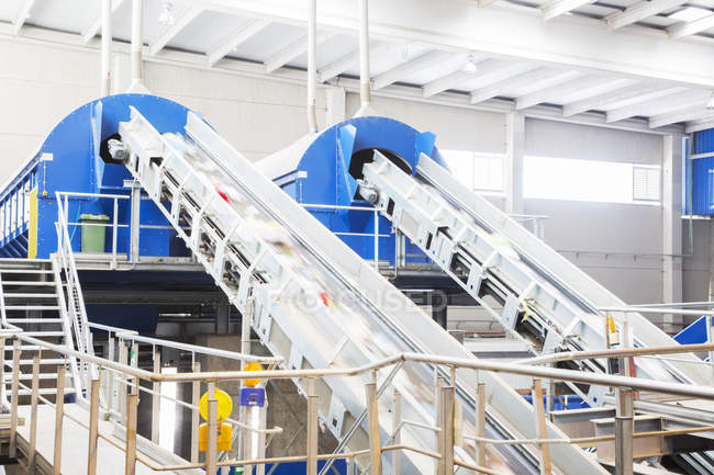 Conveyor belts in recycling center — Stock Photo