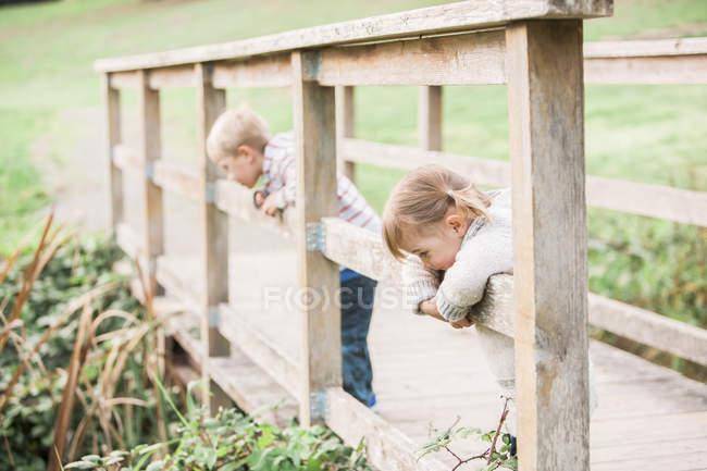 Маленькие дети, опирающиеся на пешеходные перила в парке — стоковое фото