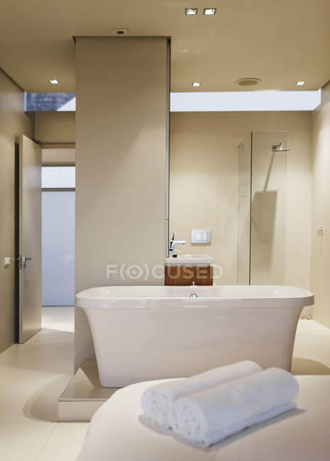 Bathtub, sink and shower in modern bathroom interior — Stock Photo