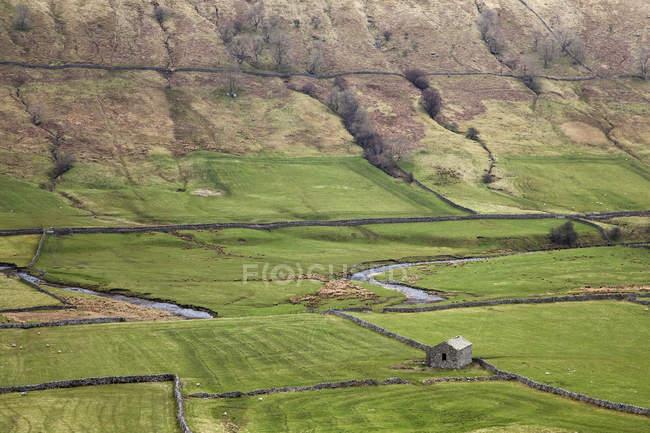 Rivière et pâturages dans la vallée rurale — Photo de stock
