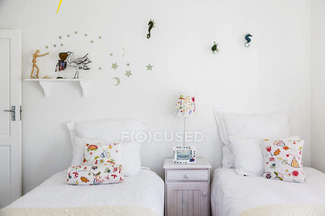 Wall decorations in childs bedroom interior — Stock Photo