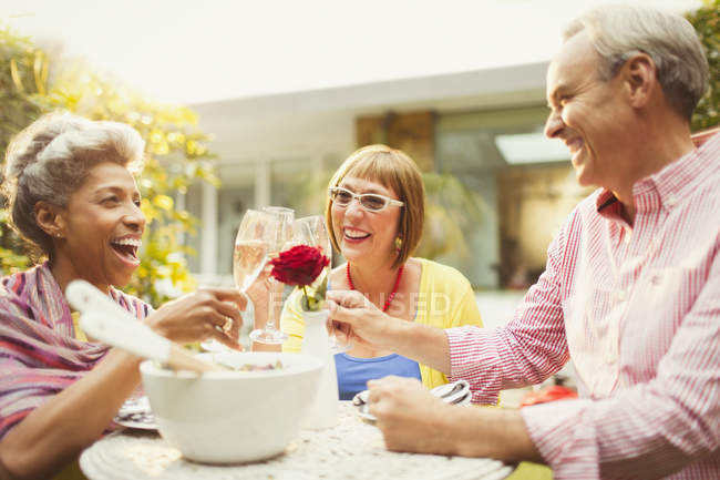 Mature friends toasting champagne flutes in garden — Stockfoto