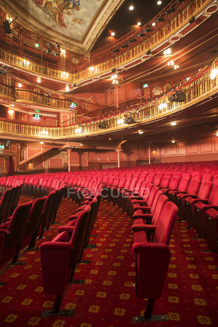 Balconies and seats in empty theater auditorium — Stock Photo