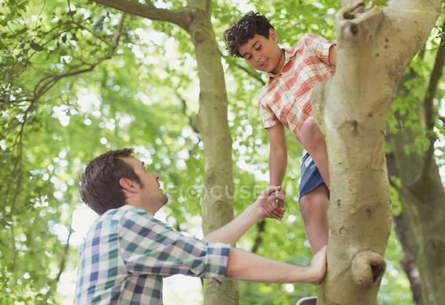 Vater hilft Sohn beim Baumklettern — Stockfoto