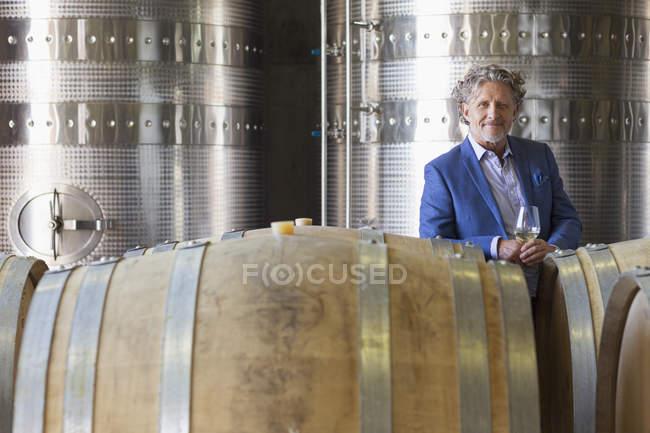 Ritratto fiducioso viticoltore in cantina — Foto stock