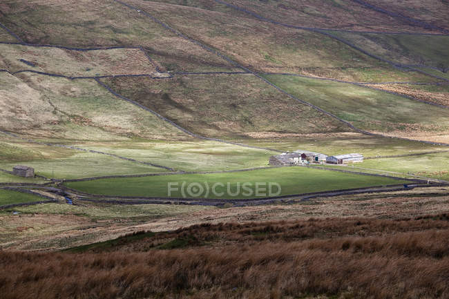 Pastures and farm in rural landscape — Stock Photo