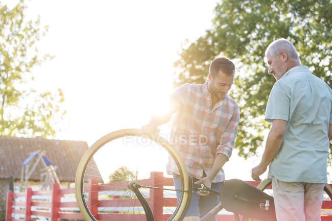 Батько і дорослого син фіксації велосипеді — стокове фото