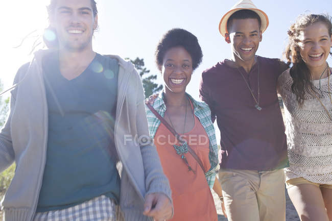 Portrait of smiling friends during daytime — Stock Photo