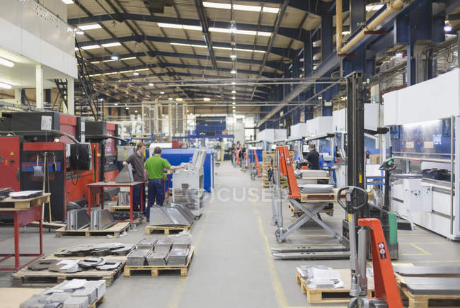 Interior of Steel factory with lights — Stock Photo
