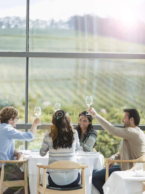 Amigos brindando com taças de vinho na adega sala de jantar — Fotografia de Stock