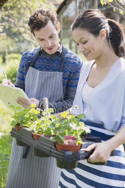 Plant nursery workers with clipboard and potted plants — Stock Photo