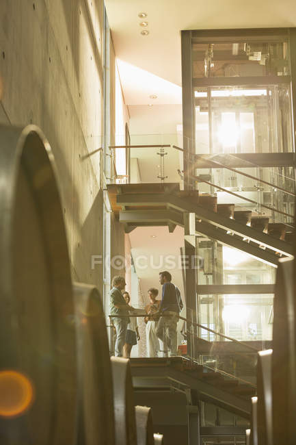 Employees talking on platform in winery — Stock Photo