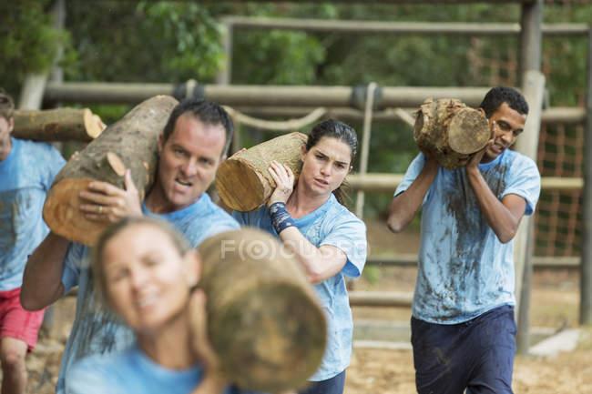 Equipo determinado que lleva troncos en el campo de entrenamiento - foto de stock