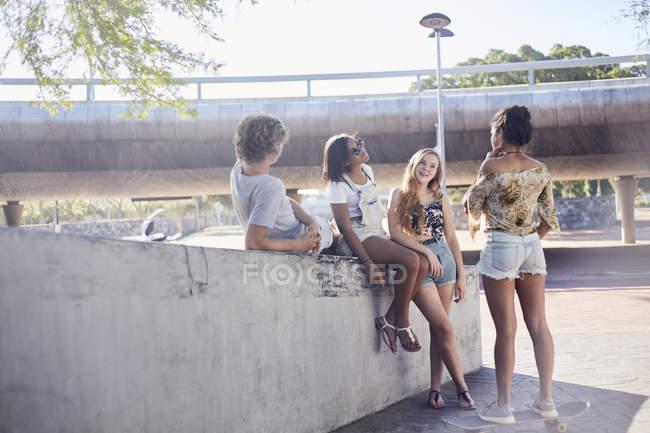Amici adolescenti ne appendere fuori al sole con lo skateboard — Foto stock