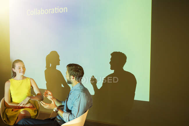 Business people discussing Collaboration in audio visual presentation — Stock Photo