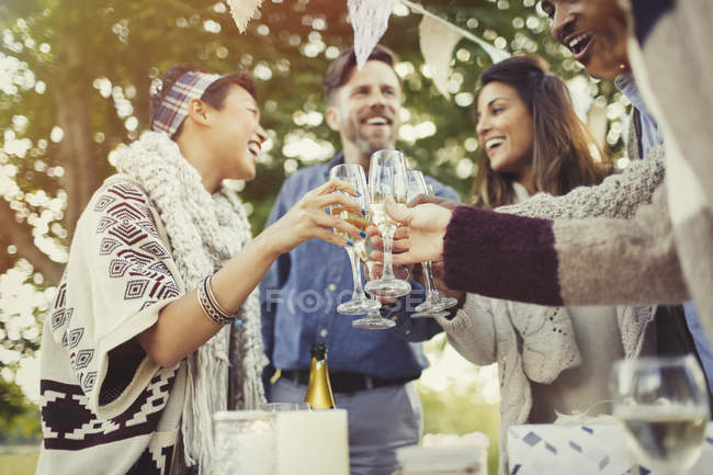 Friends toasting champagne glasses at birthday party — Stock Photo