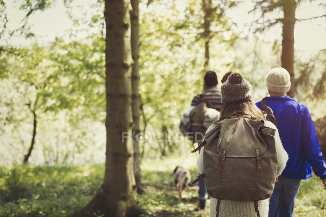 Friends backpacking hiking in woods — Stock Photo