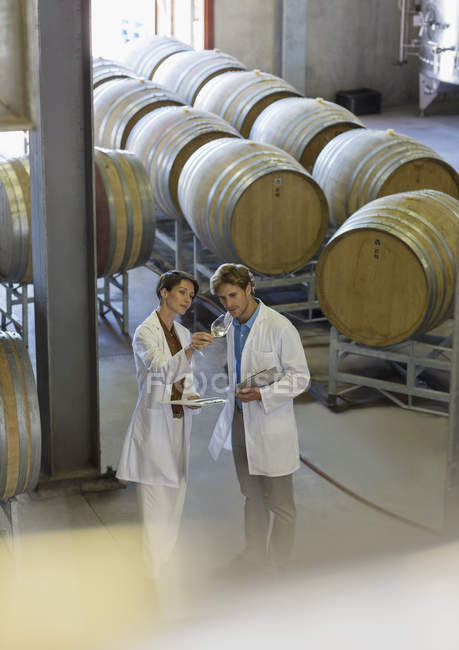 Vintners in lab coats examining wine in winery cellar — Stock Photo
