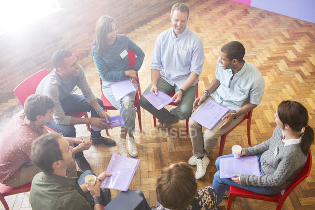 Group therapy session in circle — Stock Photo