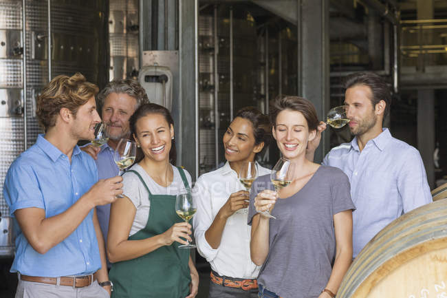 Winery employees tasting white wine in cellar — Stock Photo