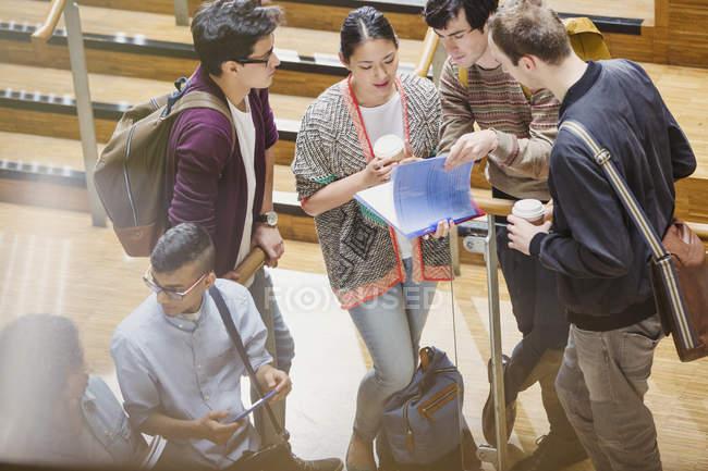 Studenti universitari con caffè discutendo i compiti — Foto stock