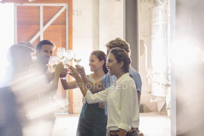 Amigos brindando com taças de vinho na adega — Fotografia de Stock