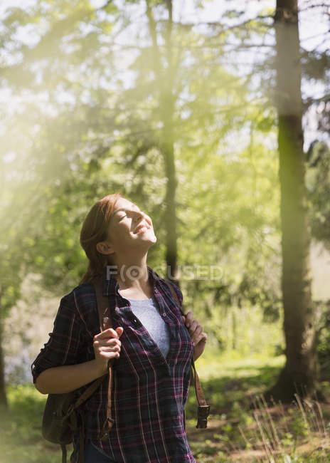 Mulher Serena se deleitando na luz do sol, caminhadas na floresta — Fotografia de Stock