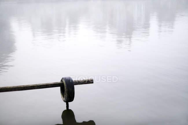 Neumático de goma sobre lago tranquilo - foto de stock