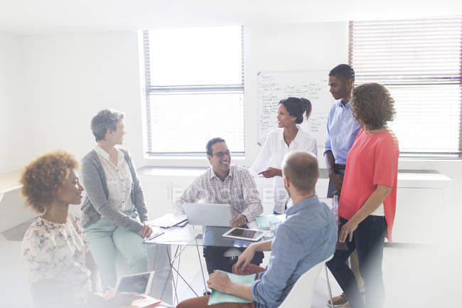 Group of business people having meeting in modern office — Stock Photo