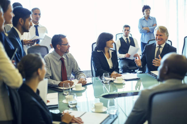 Large group of business people having meeting in conference room — Stock Photo