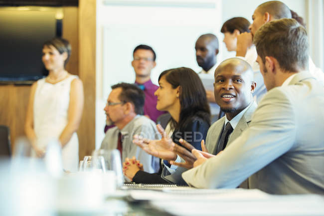 Group of business people having meeting in conference room — Stock Photo