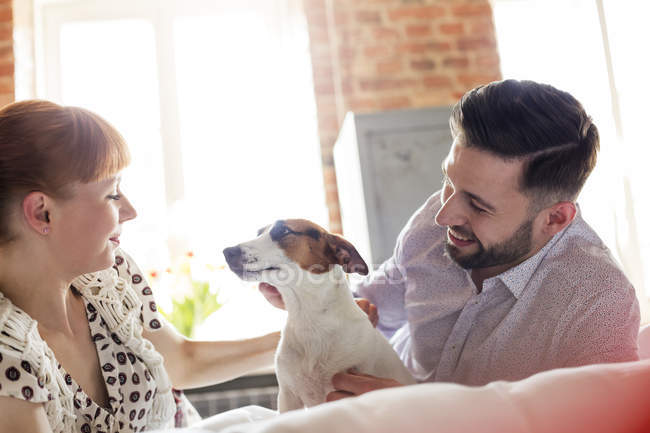 Couple petting Jack Russell Terrier dog on bed — Stock Photo