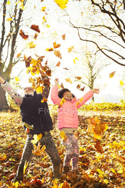 Playful sisters throwing autumn leaves in sunny woods — Stock Photo