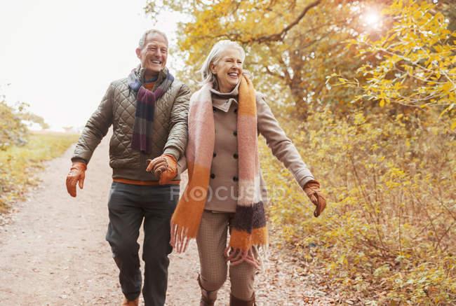 Sonriente pareja de ancianos tomados de la mano caminando por el camino en los bosques de otoño - foto de stock