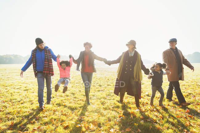 Игривая семейная прогулка в солнечной траве осеннего парка — стоковое фото